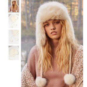 Urban Outfitters Fuzzy Faux Fur Trapper Hat with Pom Poms